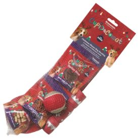 Cupid & Comet Christmas Dinner Dog Stocking